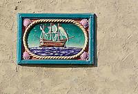 Decorative tile, Catalina Island, California