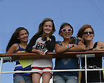 Guiding Light's Liz Keifer and Olivia (daughter of Frank Dicopoulos) and Bella (daughter of Liz Keifer) and Jordan (daughter of Adam Reist) up top of the ship - Day 1 July 31, 2010 - So Long Springfield at Sea - A Final Farewell To Guiding Light sets sail from NYC to St. John, New Brunwsick and Halifax, Nova Scotia from July 31 to August 5, 2010  aboard Carnival's Glory (Photos by Sue Coflin/Max Photos)