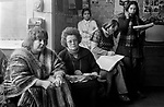 Chiswick Women's Aid, Richmond London Uk 1975. Erin Pizzey, in the house meeting with co-founder Ann Ashby.