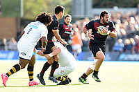 Juan Figallo of Saracens goes on the attack. Aviva Premiership match, between Saracens and Wasps on October 8, 2017 at Allianz Park in London, England. Photo by: Patrick Khachfe / JMP