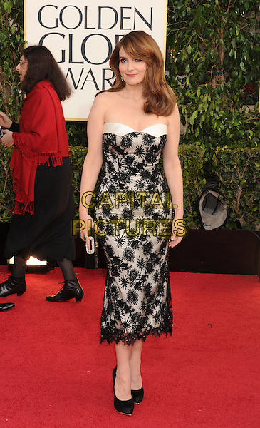 Tina Fey.Arrivals at the 70th Annual Golden Globe Awards held at the Beverly Hilton Hotel, Hollywood, California, USA..January 13th, 2013.globes full length black white strapless dress lace clutch bag .CAP/GAG.©GAG/Capital Pictures