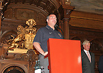 07 June 2006: U.S. head coach Bruce Arena (USA) addresses the crowd. The United States Men's National Team was honored at City Hall, the Rathaus, in Hamburg, Germany, where the team is based out of for the FIFA 2006 World Cup tournament.