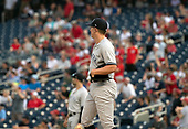 New York Yankees relief pitcher Chad Green (57) watches the flight of Washington Nationals right fielder Juan Soto's two run home run in the sixth inning at Nationals Park in Washington, D.C. on Monday, June 18, 2018.  This is to complete the game that was suspended after the top of the sixth inning on May 15, 2018 with the score tied 3 - 3. <br /> Credit: Ron Sachs / CNP<br /> (RESTRICTION: NO New York or New Jersey Newspapers or newspapers within a 75 mile radius of New York City)