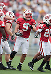 Wisconsin Badgers linebacker Blake Sorensen (9) celebrates an interception during an NCAA college football game against the San Jose State Spartans on September 11, 2010 at Camp Randall Stadium in Madison, Wisconsin. The Badgers beat San Jose State 27-14. (Photo by David Stluka)