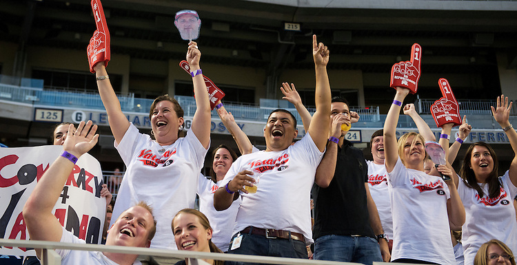 UNITED STATES - JUNE 13: Fans of Rep. David Valadao, R-Calif., cheer during the Congressional Baseball game where the Democrats beat the Republicans 22-0 at Nationals Park. (Photo By Tom Williams/CQ Roll Call)