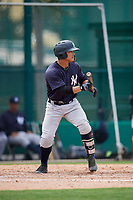 GCL Yankees West designated hitter Antonio Cabello (25) squares around to bunt during the second game of a doubleheader against the GCL Braves on July 30, 2018 at Champion Stadium in Kissimmee, Florida.  GCL Braves defeated GCL Yankees West 5-4.  (Mike Janes/Four Seam Images)