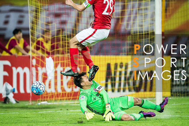 Goalkeeper Yapp Hung Fai of Eastern SC is kicked on the face by Gao Lin of Guangzhou Evergrande FC during their AFC Champions League 2017 Match Day 1 Group G match between Guangzhou Evergrande FC (CHN) and Eastern SC (HKG) at the Tianhe Stadium on 22 February 2017 in Guangzhou, China. Photo by Victor Fraile / Power Sport Images