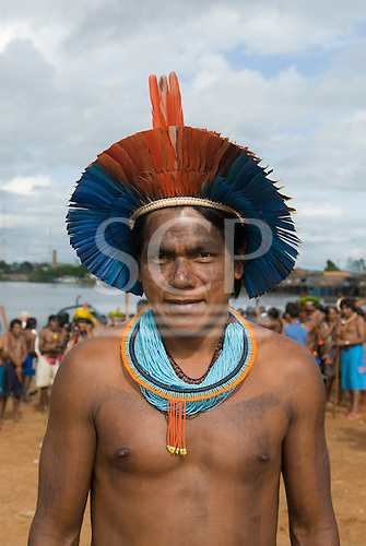 "Altamira, Brazil. ""Xingu Vivo Para Sempre"" protest meeting about the proposed Belo Monte hydroeletric dam and other dams on the Xingu river and its tributaries. Ireroko Kayapo, an Indian warrior and teacher from Pukararankre village."