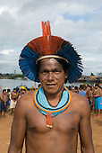 """Altamira, Brazil. """"Xingu Vivo Para Sempre"""" protest meeting about the proposed Belo Monte hydroeletric dam and other dams on the Xingu river and its tributaries. Ireroko Kayapo, an Indian warrior and teacher from Pukararankre village."""