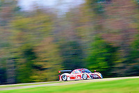 A prototype race car races past a stand of trees at Virginia International Raceway, Alton, VA. (Photo by Brian Cleary/www.bcpix.com)