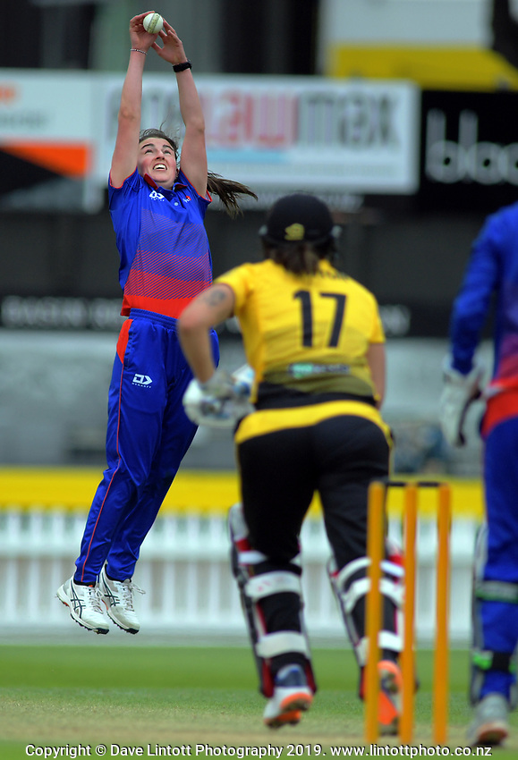 Auckland's Arlene Kelly fields off her bowling during the women's Hallyburton Johnstone Shield cricket match between the Wellington Blaze and Auckland Hearts at Basin Reserve in Wellington, New Zealand on Saturday, 16 November 2019. Photo: Dave Lintott / lintottphoto.co.nz