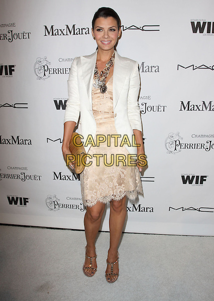ALI LANDRY.3rd Annual Women In Film Pre-Oscar Party held At A Private Residence, Bel Air, California, USA..March 4th, 2010.full length white cream blazer jacket peach nude flesh lace dress sandals beige gold clutch bag necklace.CAP/ADM/KB.©Kevan Brooks/AdMedia/Capital Pictures.
