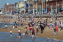 17/06/14 <br /> <br /> On the hottest day of the year, people flock to cool off on the beach at Blackpool.<br /> <br /> All Rights Reserved - F Stop Press.  www.fstoppress.com. Tel: +44 (0)1335 300098