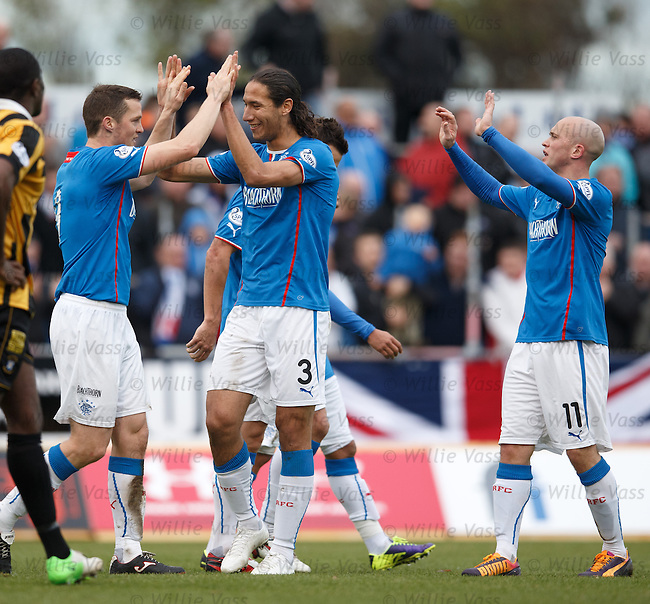 Jon Daly celebrates his hat-trick of goals