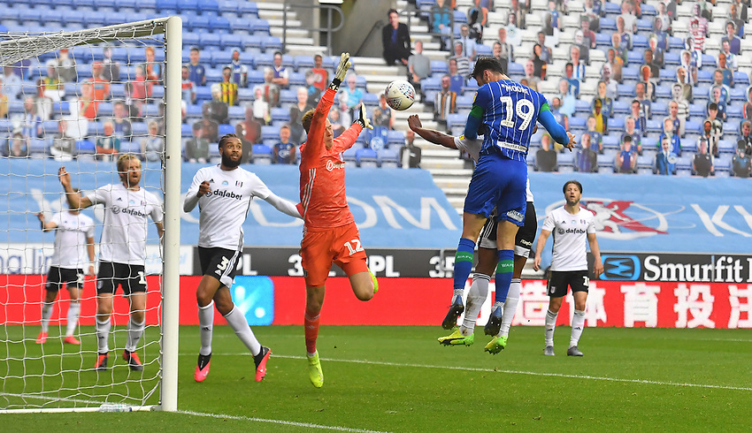 Wigan Athletic's Kieffer Moore scores his team's opening goal<br /> <br /> Photographer Dave Howarth/CameraSport<br /> <br /> The EFL Sky Bet Championship - Wigan Athletic v Fulham - Wednesday July 22nd 2020 - DW Stadium - Wigan<br /> <br /> World Copyright © 2020 CameraSport. All rights reserved. 43 Linden Ave. Countesthorpe. Leicester. England. LE8 5PG - Tel: +44 (0) 116 277 4147 - admin@camerasport.com - www.camerasport.com