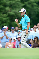 Robert Streb (USA) reacts to chipping in for birdie on 4 during Friday's round 2 of the PGA Championship at the Quail Hollow Club in Charlotte, North Carolina. 8/11/2017.<br /> Picture: Golffile | Ken Murray<br /> <br /> <br /> All photo usage must carry mandatory copyright credit (&copy; Golffile | Ken Murray)