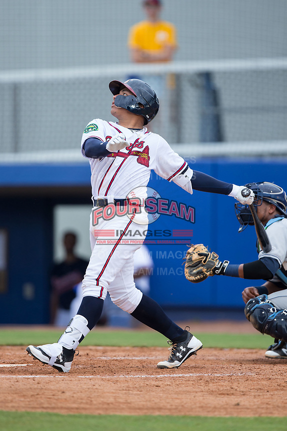 William Contreras (24) of the Danville Braves follows through on his swing against the Princeton Rays at American Legion Post 325 Field on June 25, 2017 in Danville, Virginia.  The Braves walked-off the Rays 7-6 in 11 innings.  (Brian Westerholt/Four Seam Images)