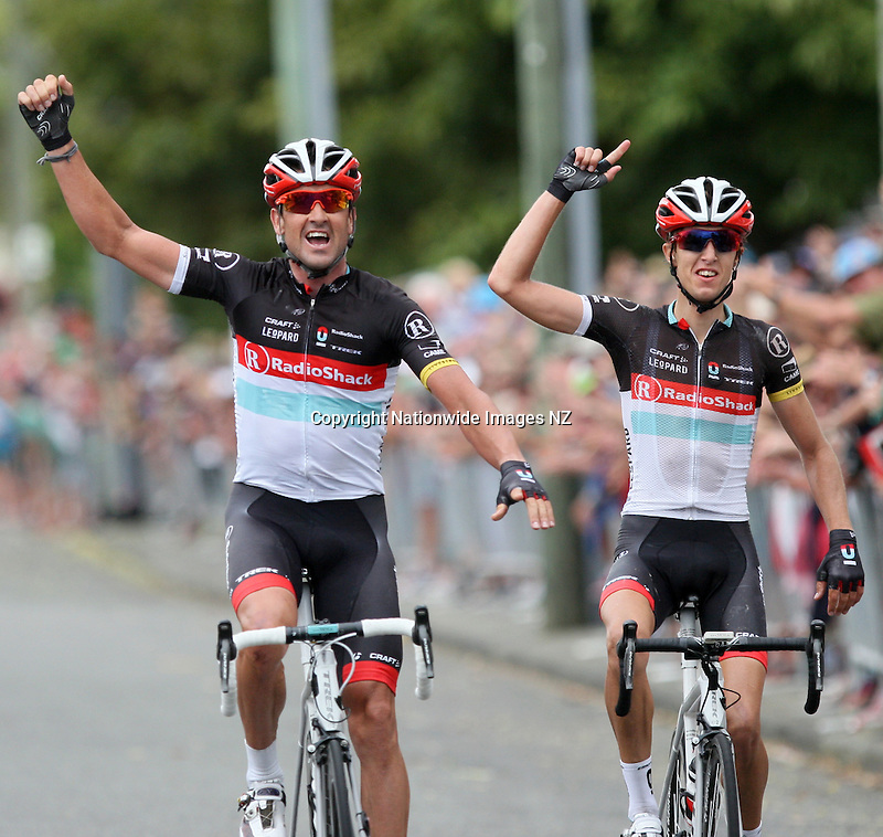 Hayden Roulston, left, celebrates finishing first with George Bennett in the Elite Road National Championships, Christchurch, New Zealand, Sunday, January 13, 2013. Credit:NINZ / Dianne Manson.