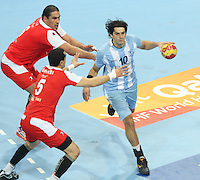 18.01.2013 Barcelona, Spain. IHF men's world championship, prelimanary round. Picture show Federico Vieyra   in action during game between Arnetina vs Tunisia at Palau St Jordi