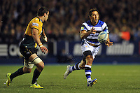 Gavin Henson passes the ball. Amlin Challenge Cup Final, between Bath Rugby and Northampton Saints on May 23, 2014 at the Cardiff Arms Park in Cardiff, Wales. Photo by: Patrick Khachfe / Onside Images