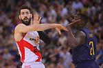 League ACB-ENDESA 2017/2018.<br /> PlayOff-Semifinal-Game: 3<br /> FC Barcelona Lassa vs Kirolbet Baskonia: 67-65.<br /> Tornike Shengelia vs Rakim Sanders.