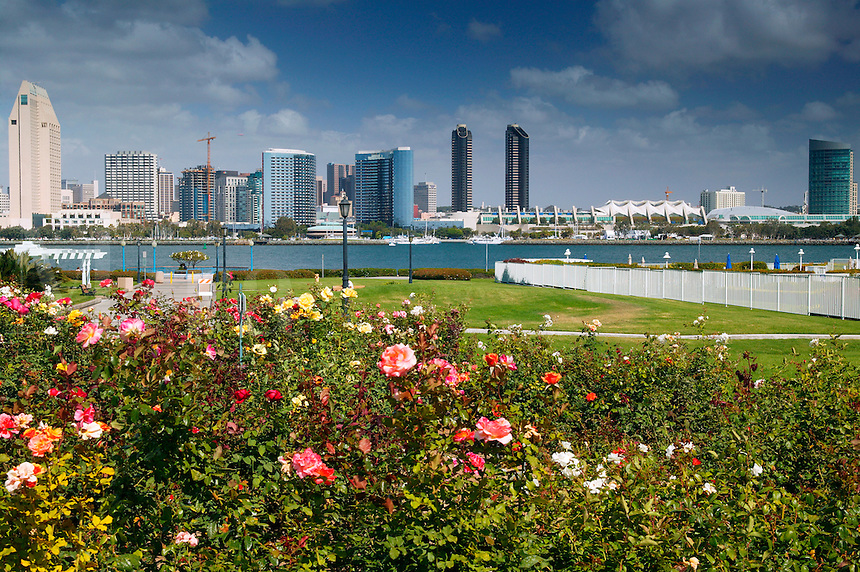 The downtown San Diego skyline as viewed from Centennial Park,  Coronado, San Diego, California.