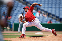 Clearwater Threshers relief pitcher Jakob Hernandez (47) delivers a pitch during a game against the Fort Myers Miracle on April 25, 2018 at Spectrum Field in Clearwater, Florida.  Clearwater defeated Fort Myers 9-5. (Mike Janes/Four Seam Images)