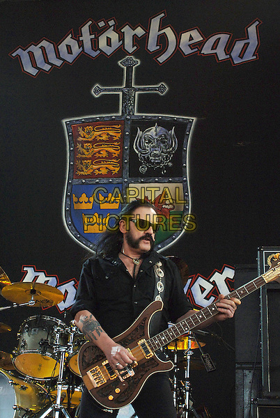 LEMMY KILMISTER of Motorhead.Metal Masters Tour held at Post-Gazette Pavilion, Burgettstown, Pennsylvania, USA, 16 August 2008..gig concert gig sunglasses beard black shirt guitar playing half length tattoo .CAP/ADM/JLN.©Jason L Nelson/Admedia/Capital Pictures