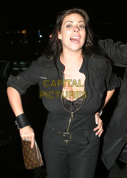LINSEY DAWN MCKENZIE.leaving Chinawhite nightclub.lindsay, linzi, fake boobs, boob job, breast enlargement, flashing, cuff, cleavage, louis vuitton handbag.www.capitalpictures.com.sales@capitalpictures.com.© Capital Pictures.