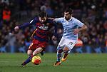 14.02.2016 Camp Nou, Barcelona, Spain. La Liga day 24. Match between FCBarcelona and Celta de Vigo. Leo Messi scape from Jonny