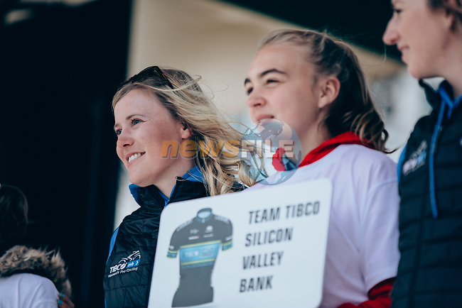 Team Tibco-Silicon Valley Bank at team presentation before the 2019 Liège-Bastogne-Liège Femmes,  running 138.5km from Bastogne to Liege, Belgium. 27th April 2019<br /> Picture: ASO/Thomas Maheux | Cyclefile<br /> All photos usage must carry mandatory copyright credit (© Cyclefile | ASO/Thomas Maheux)