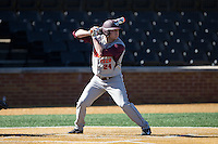 Mac Caples (24) of the Virginia Tech Hokies at bat against the Wake Forest Demon Deacons at Wake Forest Baseball Park on March 7, 2015 in Winston-Salem, North Carolina.  The Hokies defeated the Demon Deacons 12-7 in game one of a double-header.   (Brian Westerholt/Four Seam Images)