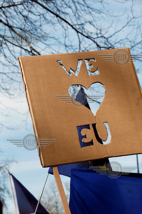 A person with a homemade 'we love EU' placard at a 'Unite for Europe March on Parliament'.