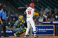 Heston Kjerstad (18) of the Arkansas Razorbacks at bat against the Baylor Bears in game nine of the 2020 Shriners Hospitals for Children College Classic at Minute Maid Park on March 1, 2020 in Houston, Texas. The Bears defeated the Razorbacks 3-2. (Brian Westerholt/Four Seam Images)