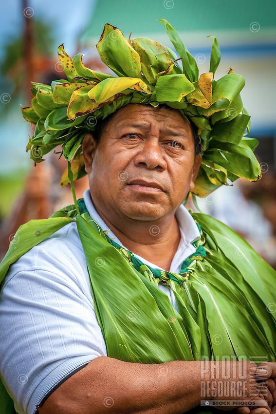 Celebration of the investiture of Makirau Haurua with the Teurukura Ariki title, Aitutaki Island, Cook Islands.