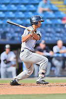 Charleston RiverDogs second baseman Gosuke Katoh (3) swings at a pitch during game one of a double header against the Asheville Tourists at McCormick Field on July 8, 2016 in Asheville, North Carolina. The RiverDogs defeated the Tourists 10-4 in game one. (Tony Farlow/Four Seam Images)