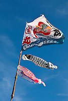 Flags and kites in the form of koi-fish are waving over one of the japanese contingents. Photo: Kim Rask/Scouterna