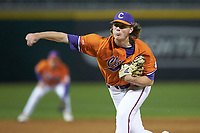 Clemson Tigers relief pitcher Holt Jones (45) follows through on his delivery against the Charlotte 49ers at BB&T BallPark on March 26, 2019 in Charlotte, North Carolina. The Tigers defeated the 49ers 8-5. (Brian Westerholt/Four Seam Images)