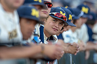 Michigan Wolverines pitcher Willie Weiss (20) before Game 1 of the NCAA College World Series Finals on June 24, 2019 at TD Ameritrade Park in Omaha, Nebraska. Michigan defeated Vanderbilt 7-4. (Andrew Woolley/Four Seam Images)