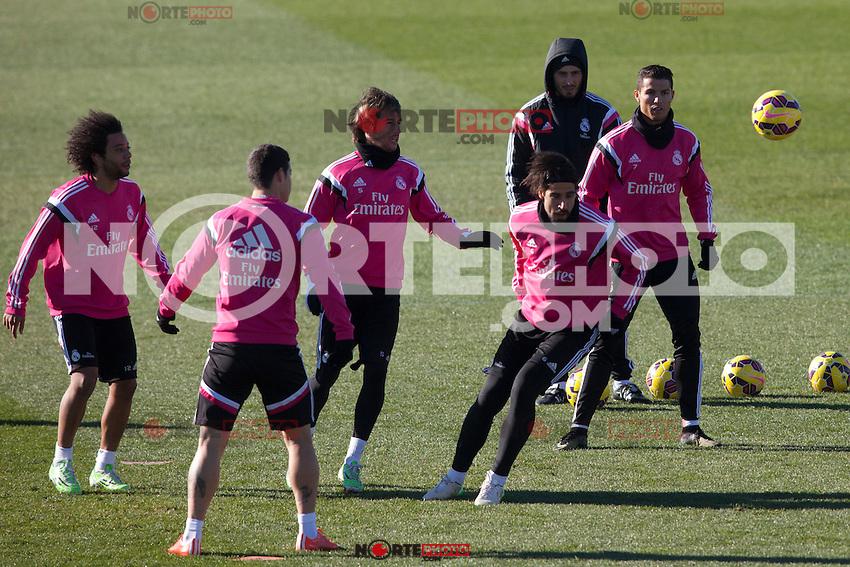 James, Marcelo, Kehedira, Coentrao, and Cristiano Ronaldo during a sesion training at Real Madrid City in Madrid. January 23, 2015. (ALTERPHOTOS/Caro Marin) /NortePhoto<br /> NortePhoto.com