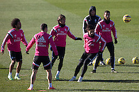 James, Marcelo, Kehedira, Coentrao, and Cristiano Ronaldo during a sesion training at Real Madrid City in Madrid. January 23, 2015. (ALTERPHOTOS/Caro Marin) /NortePhoto<br />