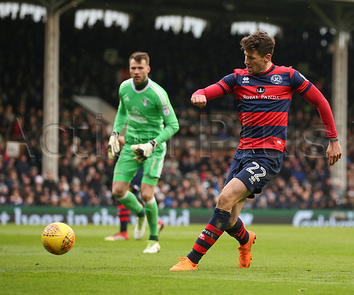 17th March 2018, Craven Cottage, London, England; EFL Championship football, Fulham versus Queens Park Rangers; Pawel Wszolek of Queens Park Rangers shot for a goal ruled offside in the 1st half