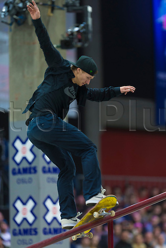 25.02.2016. Warehouse 13  Oslo, Norway.  X Games Oslo 2016. Mens Skateboard final.Shane O'neill of Australia competes in the men's skateboard street final  during the X Games Oslo 2016 at the warehouse 13  in Oslo, Norway.