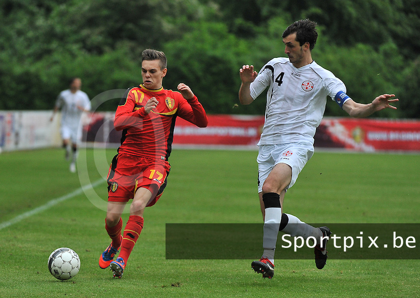 Georgia U19 - Belgium U19 : Leandro Trossard (17) and Nika Sandokhadze (4)<br /> foto DAVID CATRY / Nikonpro.be
