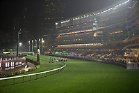 HAPPY VALLEY,WAN CHAI,HONG KONG-APRIL 26:  Horses are running with the stand for background at Happy Valley Racecourse on April 26,2017 in Happy Valley,Wan Chai,Hong Kong (Photo by Kaz Ishida/Eclipse Sportswire/Getty Images)