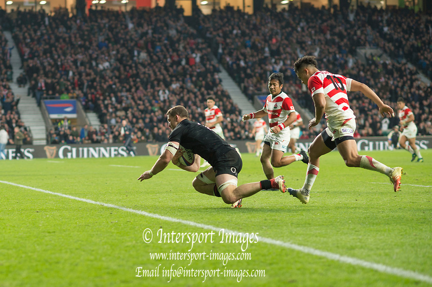 Twickenham, United Kingdom, Saturday, 17th  November 2018, RFU, Rugby, Stadium, England, Mark WILSON, scoring a  second Half try, during the Quilter Autumn International, England vs Japan, © Peter Spurrier