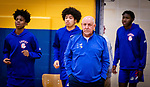 WATERBURY,  CT-011520JS13- Crosby High School boys basketball coach Nick Augelli nearing 700 career win, make his way out on the court with his team prior to their game against Kennedy Wednesday at Kennedy High School. <br /> Jim Shannon Republican-American