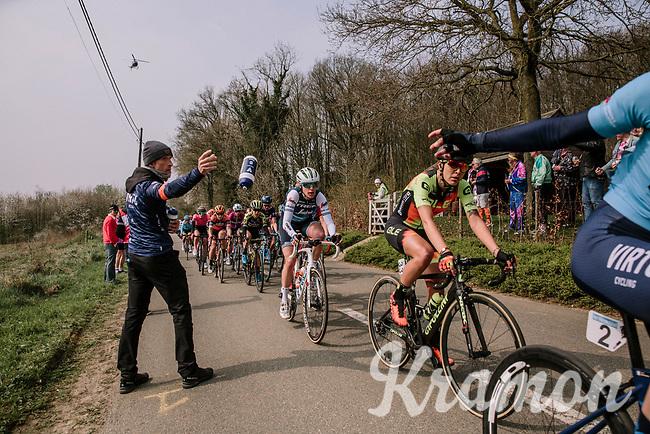 Sofia Bertizzolo (ITA/Virtu) misses a bidon<br /> <br /> 8th Gent-Wevelgem In Flanders Fields 2019 <br /> Elite Womens Race (1.WWT)<br /> <br /> One day race from Ypres (Ieper) to Wevelgem (137km)<br /> ©JojoHarper for Kramon