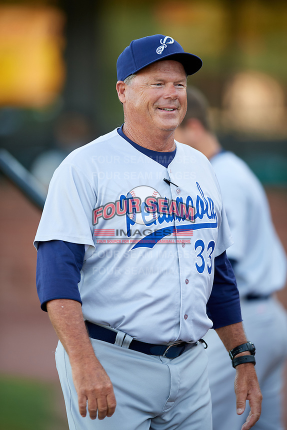 Pensacola Blue Wahoos manager Pat Kelly (33) before a game against the Mobile BayBears on April 25, 2017 at Hank Aaron Stadium in Mobile, Alabama.  Mobile defeated Pensacola 3-0.  (Mike Janes/Four Seam Images)