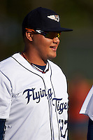 Lakeland Flying Tigers pitcher Joe Jimenez (27) during introductions before a game against the Tampa Yankees on April 7, 2016 at Henley Field in Lakeland, Florida.  Tampa defeated Lakeland 9-2.  (Mike Janes/Four Seam Images)